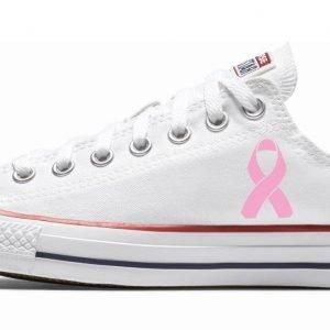 Breast Cancer Awareness Custom Converse Shoes White Low at BandanaFever.com