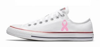 Breast Cancer Awareness Custom Converse Shoes White Low at BandanaFever.com