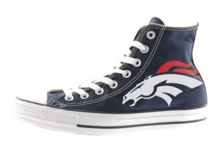 Denver Broncos Custom Converse Shoes Navy Hi at BandanaFever.com