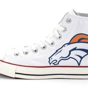 Denver Broncos Custom Converse Shoes White High by BandanaFever.com