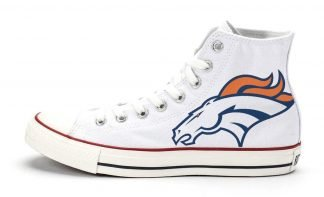 Denver Broncos Custom Converse Shoes White High by BandanaFever.com