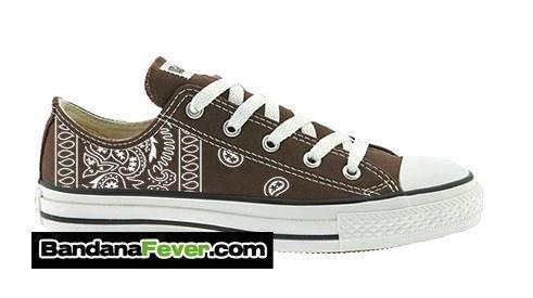 Brown Bandana Custom Converse Shoes Brown Low at BandanaFever.com