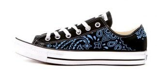 Carolina Blue Bandana Custom Converse Shoes Black Low by BandanaFever.com