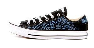Carolina Blue Bandana Custom Converse Shoes Black Low by BandanaFever.com