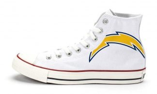 LA Chargers Custom Converse Shoes White High at BandanaFever.com