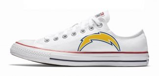 LA Chargers Custom Converse Shoes White Low by BandanaFever.com