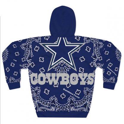 Dallas Cowboys Blue Bandana Custom Hoodie Pullover Blue Back by BandanaFever.com
