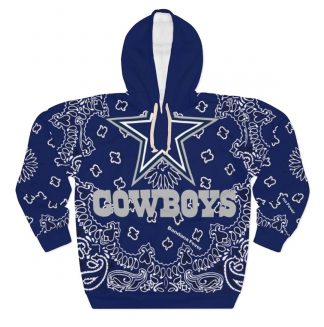 Dallas Cowboys Blue Bandana Custom Hoodie Pullover Blue by BandanaFever.com