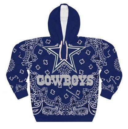 Dallas Cowboys Blue Bandana Custom Hoodie Pullover Blue by BandanaFever.com