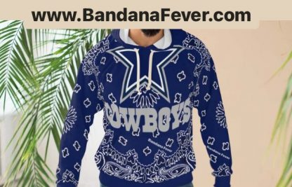 Dallas Cowboys Blue Bandana Custom Hoodie Pullover Blue Model at BandanaFever.com