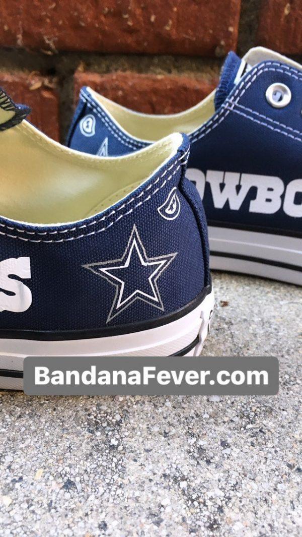 Dallas Cowboys Custom Converse Shoes Details Navy Low at BandanaFever.com