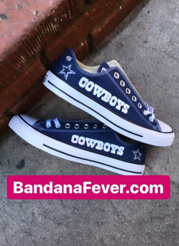 Dallas Cowboys Custom Converse Shoes Navy Low Stacked at BandanaFever.com