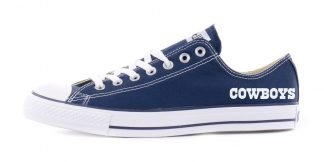 Dallas Cowboys Word Custom Converse Shoes Navy Low at BandanaFever.com