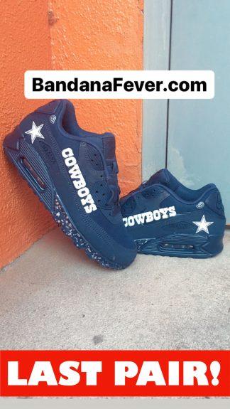 Dallas Cowboys Silver Splat Custom Nike Air Max Shoes Navy On Sale at BandanaFever.com