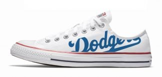 LA Dodgers Custom Converse Shoes White Low at BandanaFever.com