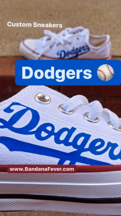 LA Dodgers Custom Converse Shoes White Low Close at BandanaFever.com
