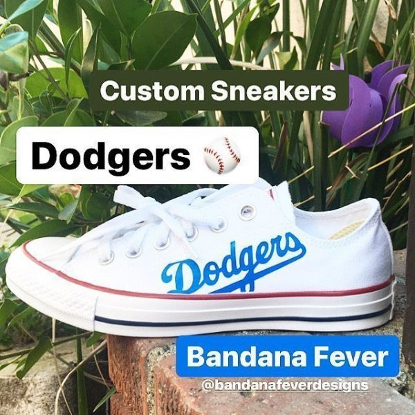 LA Dodgers Custom Converse Shoes White Low Main at BandanaFever.com