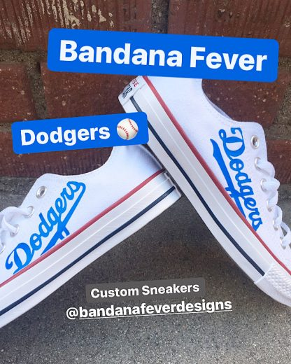 LA Dodgers Custom Converse Shoes White Low Stacked at BandanaFever.com
