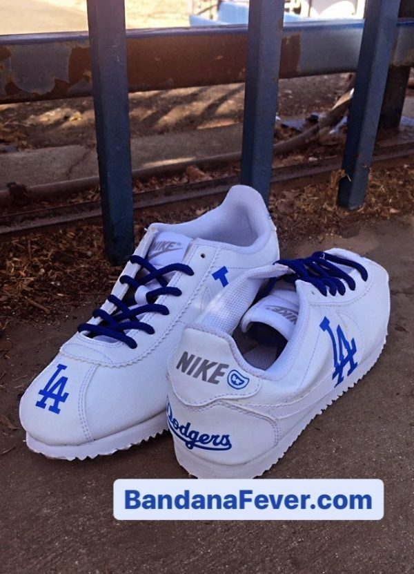 LA Dodgers Custom Nike Cortez Shoes Heel Toe at BandanaFever.com