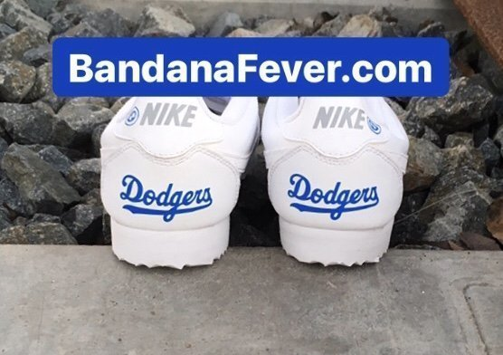 LA Dodgers Custom Nike Cortez Shoes Heels at BandanaFever.com