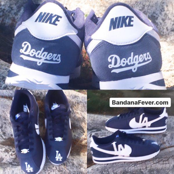 LA Dodgers Custom Nike Cortez Shoes NNW Collage at BandanaFever.com