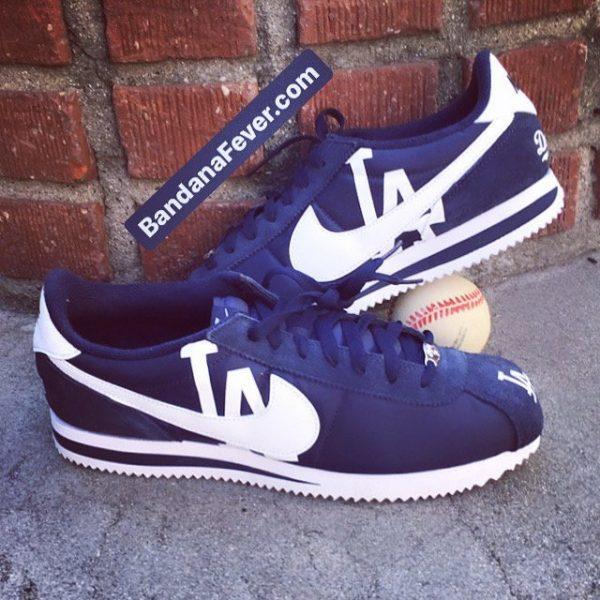 LA Dodgers Custom Nike Cortez Shoes NNW Stacked at BandanaFever.com