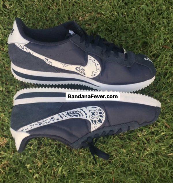LA Dodgers Navy Bandana Custom Nike Cortez Shoes Insides Toes by BandanaFever.com