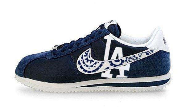 LA Dodgers Navy Bandana Custom Nike Cortez Shoes by BandanaFever.com