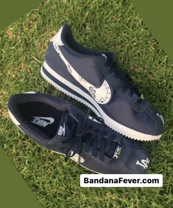 LA Dodgers Navy Bandana Custom Nike Cortez Shoes Open Toes by BandanaFever.com