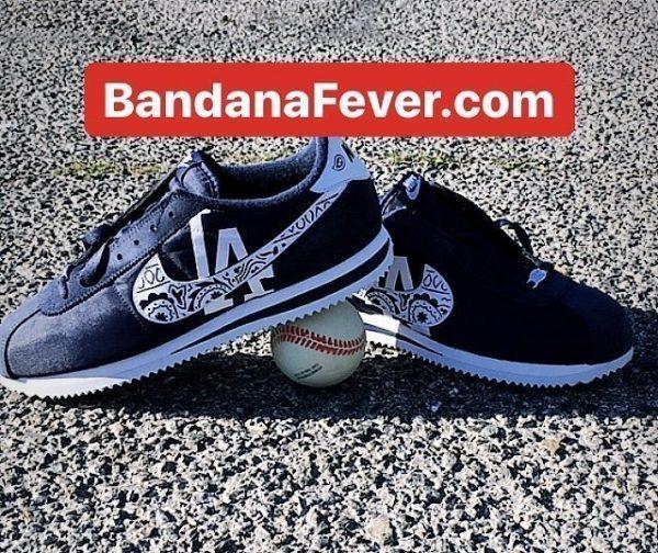 LA Dodgers Navy Bandana Custom Nike Cortez Shoes NNW at BandanaFever.com