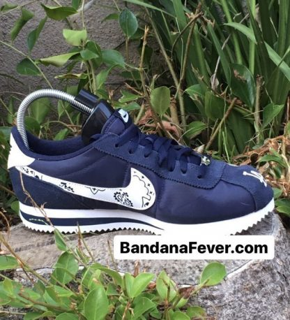 LA Dodgers Navy Bandana Custom Nike Cortez Shoes Side Toes by BandanaFever.com