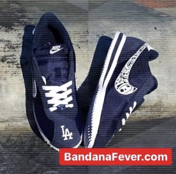 LA Dodgers Navy Bandana Custom Nike Cortez Shoes Toes Top NNW at BandanaFever.com