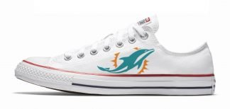 Miami Dolphins Custom Converse Shoes White Low at BandanaFever.com