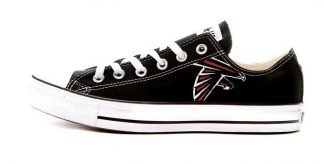 Atlanta Falcons Custom Converse Shoes Black Low at BandanaFever.com
