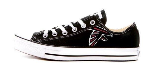 Atlanta Falcons Custom Converse Shoes Black Low at BandanaFever.com