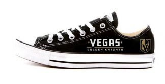 Vegas Golden Knights Custom Converse Shoes Black Low by BandanaFever.com