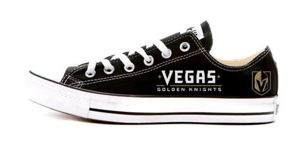 Vegas Golden Knights Custom Converse Shoes Black Low by BandanaFever.com