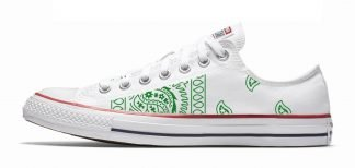 Green Bandana Teardrops Custom Converse Shoes White Low by BandanaFever.com