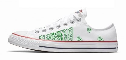 Green Bandana Teardrops Custom Converse Shoes White Low by BandanaFever.com