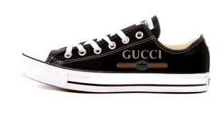 Gucci Retro Custom Converse Shoes Black Low by BandanaFever.com