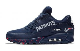 New England Patriots Red Splat Custom Nike Air Max Shoes Navy at BandanaFever.com