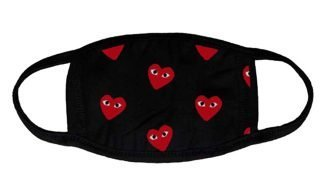 Red CDG Play Mini Custom Face Mask Black by BandanaFever.com