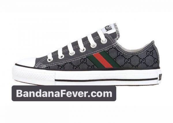 Bandana Fever Gucci Custom Converse Shoes Charcoal Low at BandanaFever.com