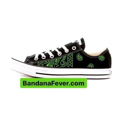 Lime Green Bandana Teardrops Custom Converse Shoes Black Low by BandanaFever.com
