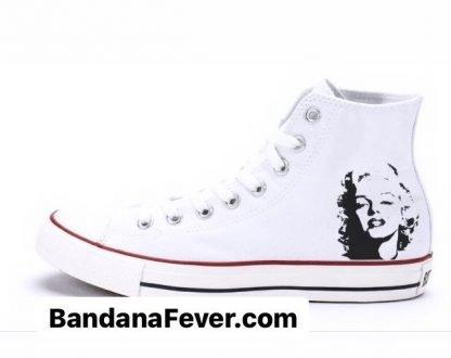 Bandana Fever Marilyn Monroe Custom Converse Shoes White High at BandanaFever.com