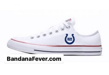 Bandana Fever Mini Indianapolis Colts Custom Converse Shoes White Low at BandanaFever.com