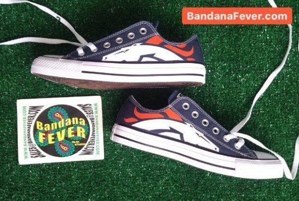Denver Broncos Custom Converse Shoes Navy Low Logo Stagger at BandanaFever.com