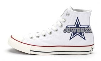 Dallas Cowboys Custom Converse Shoes White High at BandanaFever.com