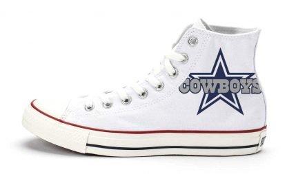 Dallas Cowboys Custom Converse Shoes White High at BandanaFever.com
