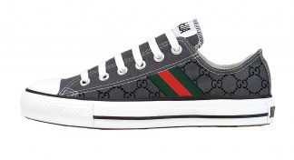 Gucci Custom Converse Shoes Charcoal Low by BandanaFever,com